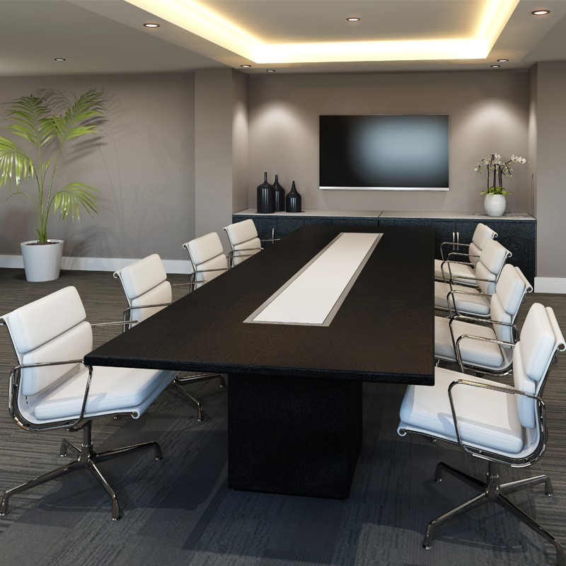 Square-Base range of boardroom tables finished in a choice of 15 veneers, with 6 different top shapes.